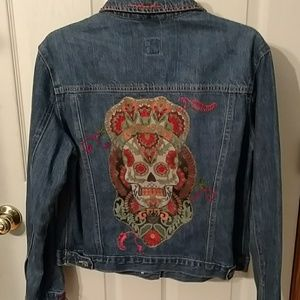 Sugar skull denim jacket repurposed and upcycled